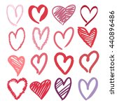 set of hand drawn pink and red... | Shutterstock .eps vector #440896486