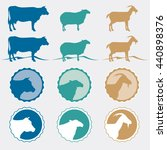 vector cow sheep and goat icons ... | Shutterstock .eps vector #440898376
