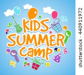 kids summer camp poster  banner ... | Shutterstock .eps vector #440911972