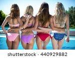 rear view of women in bikini...   Shutterstock . vector #440929882