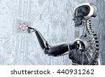 humanoid robot clicking network ... | Shutterstock . vector #440931262