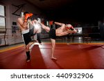 boxer in black shorts is... | Shutterstock . vector #440932906