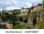 View from the Casemates on old Luxembourg City. - stock photo