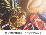 summer concept with pineapple...   Shutterstock . vector #440944276