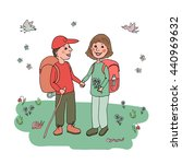 two friends with backpacks... | Shutterstock .eps vector #440969632