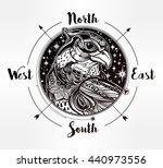 detailed hand drawn bird of... | Shutterstock .eps vector #440973556