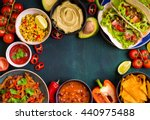 mixed mexican food background.... | Shutterstock . vector #440975488