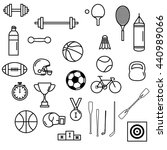 sport themed line art icon set... | Shutterstock .eps vector #440989066