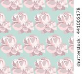 watercolor pink rose pattern.... | Shutterstock .eps vector #441003178