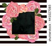trendy floral vector frame... | Shutterstock .eps vector #441027085