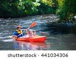 family on kayaks and canoe tour.... | Shutterstock . vector #441034306