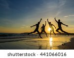 silhouette of cheering young... | Shutterstock . vector #441066016