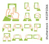 phone on hand icon set   Shutterstock .eps vector #441091066