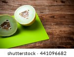 melon halves on green cutting...   Shutterstock . vector #441096682