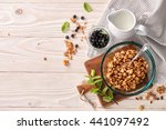 a food background with a glass... | Shutterstock . vector #441097492