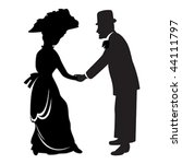 Victorian couple silhouette isolated over white - stock vector