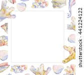 watercolor shell set of... | Shutterstock . vector #441224122