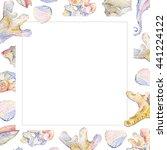 watercolor shell set of... | Shutterstock . vector #441224122