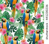 seamless pattern with exotic... | Shutterstock .eps vector #441230236