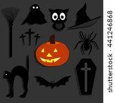 set of stickers for halloween.... | Shutterstock .eps vector #441246868