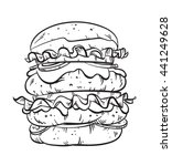 hand drawn black and white line ... | Shutterstock .eps vector #441249628