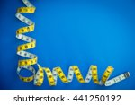 yellow centimeter on a blue... | Shutterstock . vector #441250192