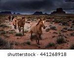 Wild Horses Dark Clouds Over...