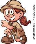 safari girl kneeling. vector... | Shutterstock .eps vector #441270022