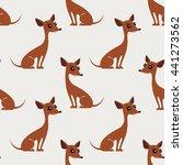 brown dogs. seamless pattern.... | Shutterstock .eps vector #441273562