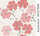 Cute seamless pattern with pink flowers on ivory background can be used for wallpapers, surface textures, textile,linen, kids cloth, pattern fills, page backgrounds and more designs.