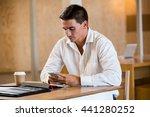 man text messaging on mobile... | Shutterstock . vector #441280252