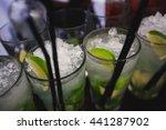 beautiful row line of different ... | Shutterstock . vector #441287902