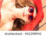 glamorous young woman sun... | Shutterstock . vector #441298942