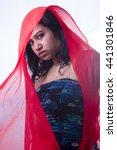 indian girl in red veil | Shutterstock . vector #441301846