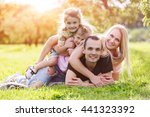 family playing in the park on... | Shutterstock . vector #441323392