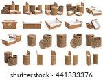 set wicker baskets on white... | Shutterstock . vector #441333376