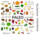 hand drawn paleo diet food... | Shutterstock .eps vector #441342736