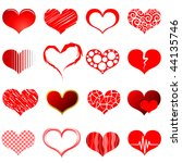 vector collection of red heart... | Shutterstock .eps vector #44135746
