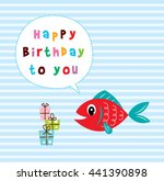 cute fish happy birthday... | Shutterstock .eps vector #441390898