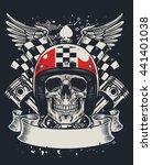 skull of biker in t shirt style ... | Shutterstock .eps vector #441401038