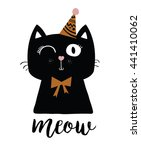 Stock vector black cat vector t shirt print funny animal mascot birthday surprise party cartoon cat print 441410062