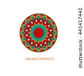 organic cosmetic mono line logo ... | Shutterstock .eps vector #441417442