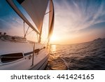 sail boat with set up sails... | Shutterstock . vector #441424165