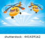 two helicopters in the sky over ... | Shutterstock .eps vector #441439162