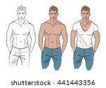 handsome muscular male model... | Shutterstock .eps vector #441443356