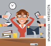 multitasking stressed business... | Shutterstock .eps vector #441451276