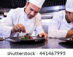 male chef garnishing dessert... | Shutterstock . vector #441467995