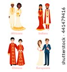 multicultural wedding couples...   Shutterstock .eps vector #441479416