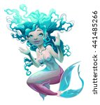 young mermaid with white... | Shutterstock .eps vector #441485266