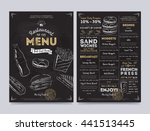 fast food menu cover layout... | Shutterstock .eps vector #441513445